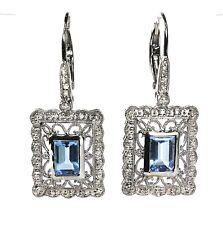 Blue Topaz or Aquamarine & Diamond  Earring in 14k White Gold,Dia.  0.17cts/CH