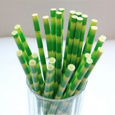 25pcs Paper Drinking Straws Party Supply Tropical Bamboo For Birthday Wedding