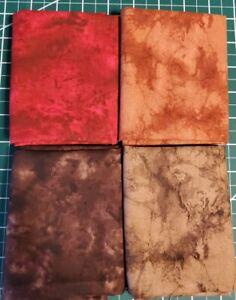 4 Fat Quarters Lot 100% Cotton FQ Bundle Fabric Marble Blenders WARM Brown