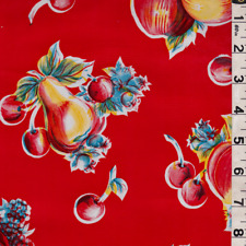 Red Fruit Oilcloth, Fabric By The Yard
