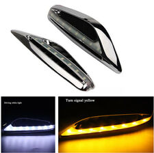 2x Fashion Car LED Blade White DRL+ Yellow Turn Signal Light Streamlined Blade
