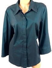Venezia jeans green metallic look spandex stretch button down top 18/20
