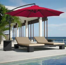 Patio Hanging Umbrella Outdoor 10Ft Durable Waterproof Offset Sun Shade Canopy