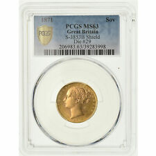 [#488189] Coin, Great Britain, Victoria, Sovereign, 1871, PCGS, MS63, Gold