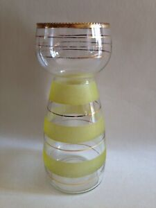 Vintage Glass Hyacinth Bulb Vase - Yellow Frosted with Gilt Banding