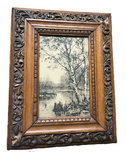Antique print 1883 and wood frame