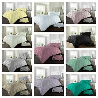 Luxury Pintuck Bedding Set With Pillow Case Beautiful Linen Duvet Cover All Size