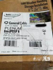 General Cable GenSPEED 6 23/4P Cat6 Network Cable CMP Plenum Green /100ft
