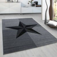 Grey Star Rug New Modern Check  Design Carpet Small X Large Bedroom Hallway Mats