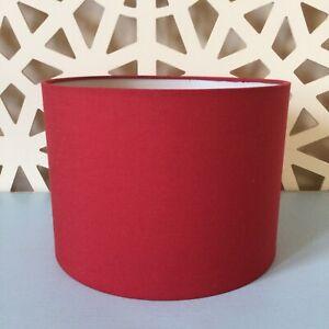 Red Fabric Drum Table Or Pendant Lampshade; H: 20 cm Diam: 28 cm