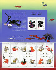 Christmas Island Australia 2016 MNH Year of Monkey 14v M/S Lunar New Year Stamps