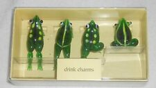 NWT Pier 1 Imports Green Glass Frog Drink Charms