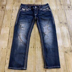 Rock Revival Noelle Capri Crop Women's Thick Stitch Jeans Distressed 29 (32X25)