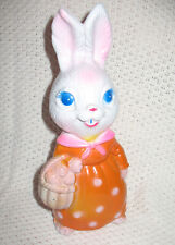 Vintage Mother Bunny Cute Rabbit Figure Statue Holding Easter Basket Eggs 1974
