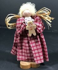 Christmas Decorations Standing Angel With Straw Wings & Gingerbread Man Wood EUC