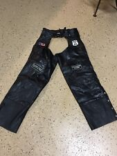 20630 Mens Diamond Plate Black Leather Motorcycle Riding CHAPS W PATCHES ~ M