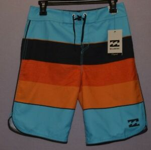 Billabong 73 OG Stripe Boardshorts Boys Youth Swim Trunks Coastal size 30 New