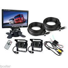 """New 7"""" TFT Monitor Waterproof Car Rear View Night Vision Backup 2 Camera System"""