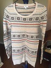 Bossini Sweater Oatmeal Beige Stripe Print  Crewneck Wool Blend Size M (170/88Y)