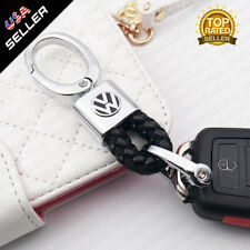 Black Calf Leather Alloy With VW Emblem Keychain Decoration Gift Accessories