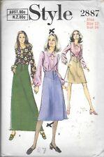 Vintage Style sewing pattern 2887 ladies 12 skirt blouse key hole pre-cut c.1969