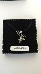 A21 Stag's Head Motif Pewter  PENDENT ON A  BLACK CORD  Necklace Handmade