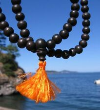 Tibetan Buddhist 8mm 108 RARE BLACK EBONY WOOD MALA by Tibetan Refugees INDIA