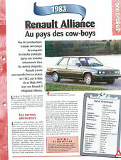 Renault Alliance  1983  France  Car Auto FICHE FRANCE
