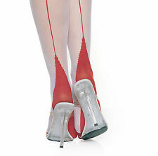 VINTAGE LOOK 2 TONE RED WHITE BACK SEAM CUBAN HEEL SHEER STOCKING BY LEG AVENUE