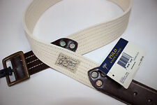 NWT RALPH LAUREN Size 32 Men's Wide Cream Canvas Mahogany Leather STITCHED Belt