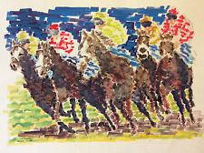 Mario Passarelli grande aquarelle Les jockeys chevaux cheval tiercé