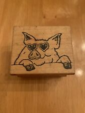 All Night Media Pig O' My Heart 171E Wooden Rubber Stamp Love Porky Glasses