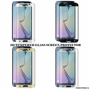 FULL CURVED 3D Tempered Glass Screen Protector For SAMSUNG S6 Edge color  WHITE