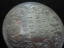 British India 1892 One Rupee Silver Coin--MINT STATE