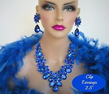 DRAG QUEEN BLUE RHINESTONE NECKLACE CLIP EARRINGS BRIDAL PAGEANT STAGE SET