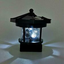 LED Solar Lighthouse Statue Rotating Light Garden Yard Decor Outdoor Patio Q8S7
