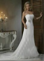 New White/ivory Chiffon Wedding Dress Prom Bridal Gown Stock Size6 8 10 12 14 16