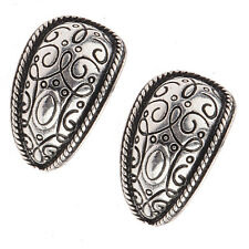 Bohemian Boho Style Antique Silver Pld Carved Flower Stud Women Pierced Earrings