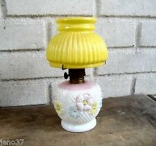 Antique Cosmos Glass Miniature Oil or Kerosene Lamp~Very Pretty Colors