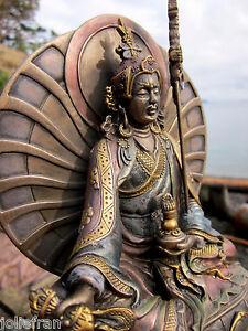 """6.5"""" GLORIOUSLY HAND PAINT TIBETAN BUDDHIST PADMASAMBHAVA GURU RINPOCHE STATUE"""