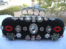 37aaaebcc36c ALEXANDER MCQUEEN NEW SWAROVSKI CRYSTAL KNUCKLE SKULL BLACK SATIN BOX CLUTCH