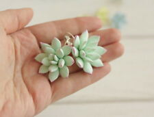 Succulent green EARRINGS HANDCRAFTED Fashion polymer clay Party Dangle HANDMADE