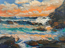 NORTH PACIFIC ORANGE Original Seascape Expression Oil Painting 18x24 060917 KEN