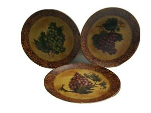 Set Of 3 Burgandy Designed Gold Fruit Home Decorative Wall Cabinet Art Plates