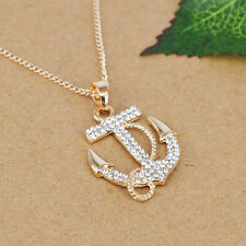 Necklace Pendant Anchor Nautical Rope Gold Tone Crystal Chain T