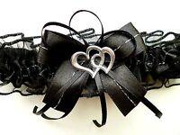 XXL Strumpfband Braut schwarz mit Schleife Herzchen Silbernaht Gothic Neu EU