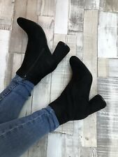 black ankle boots size 5 Faux Suede Round Heel Zip Fastening Funky Smart Casual