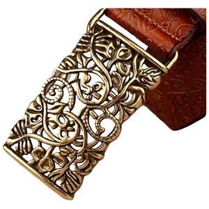 QHA Womens Designer Genuine Leather Belt Floral Design Casual Pin Buckle