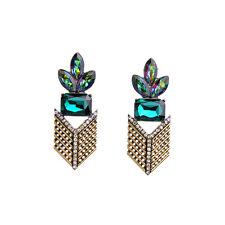 orecchini A perno Dorato Art Deco Floreale Verde Smeraldo Ethinque AA16