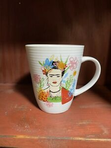 FRIDA KAHLO  Coffee Tea Mug Ribbed Surface Floral Rainbow Inside NWT
